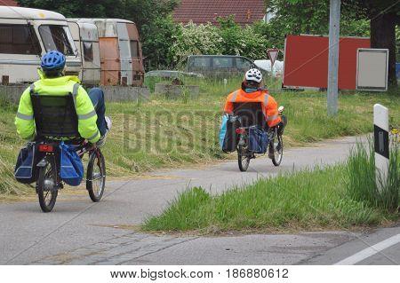 Recumbent bike trip across Europe on bicycles