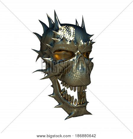 Metal skull fantastic creatures on a white background