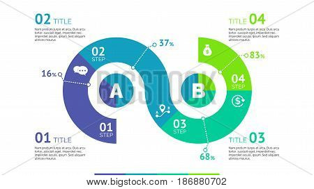 Five segments percentage chart. Business data. Comparison, diagram, design. Creative concept for infographic, templates, presentation. Can be used for topics like analysis, statistics, research.