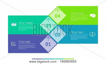 Four issues process chart. Business data. Number, diagram, design. Creative concept for infographic, templates, presentation, marketing. Can be used for topics like management, planning, teamwork.