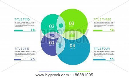 Four circles process chart slide template. Business data. Percent, diagram, design. Creative concept for infographic, presentation, report. Can be used for topics like planning, statistics, research.