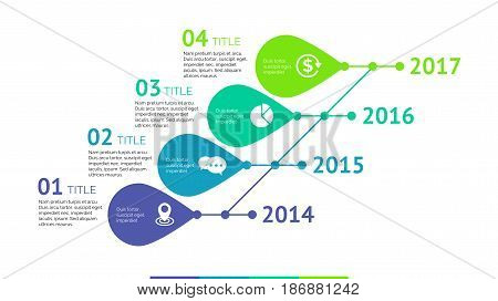 Four titles timeline process chart slide template. Business data. Year, diagram, design. Creative concept for infographic, presentation. Can be used for topics like research, management, marketing.