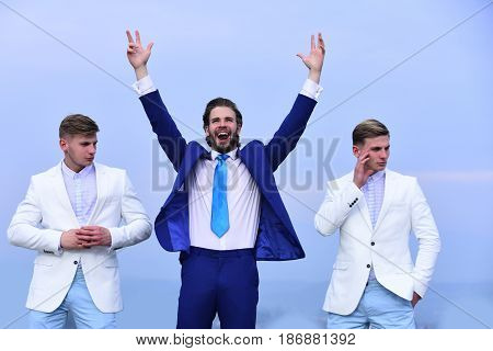 Free And Relax Of Happy Businessman And Twins Guys
