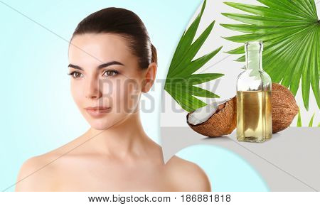 Coconut oil for skin. Young woman and cosmetic on color background