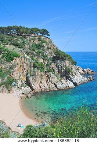 idyllic Beach in Tossa de Mar at Costa Brava,Catalonia,Spain