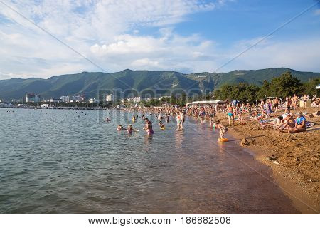 Gelendzhik Russia - June 17 2016: The city beach in resort of Gelendzhik in the high season vacation in Russia.