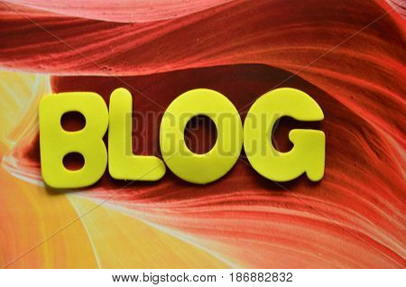 word blog on a  abstract col.orful background