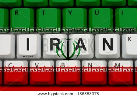 Internet access in Iran The Iranian flag on a computer keyboard 3D Illustration