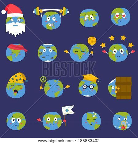 Cartoon globe with emotion web icons green global smile happy nature character expression and ecology earth planet world blue map vector illustration. Funny sad continent face emoticon.