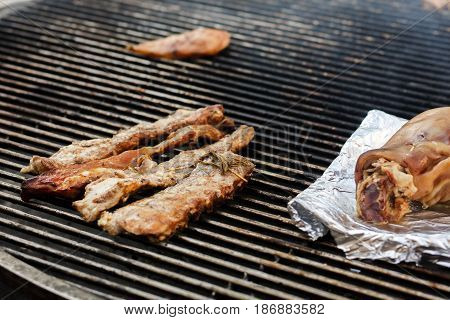 Delicious Meat Ribs Beef   Grilling On Open Grill, Outdoor Kitchen. Food Festival In City. Tasty Foo