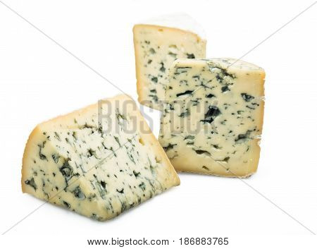 Cheese cheese piece cheese wedge isolated on white slices blue cheese gorgonzola