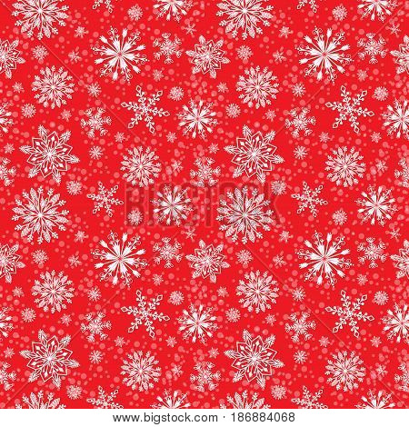 Snowflake vector seamless pattern. Weather traditional repeat art december wrapping paper. Ornament graphic ice decoration wallpaper. Christmas background.