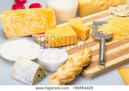 Milk cheese dairy dairy products close up cottage cheese swiss cheese