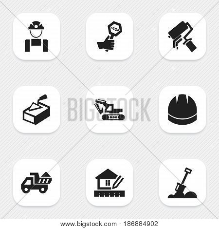 Set Of 9 Editable Construction Icons. Includes Symbols Such As Oar, Spatula, Hardhat And More. Can Be Used For Web, Mobile, UI And Infographic Design.
