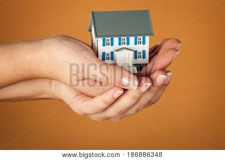 Concept real estate house model home insurance household insurance insurance building insurance