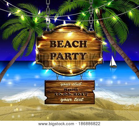 summer wooden sign on tropical night beach background with patio lights for bech party vector