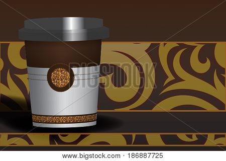 A cup of chocolate chocolate color on textured background