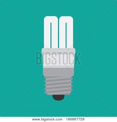 Fluorescent light bulbs in a flat style on a green background. Vector illustration.