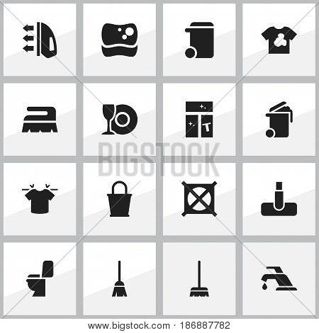 Set Of 16 Editable Dry-Cleaning Icons. Includes Symbols Such As Plate, Whisk, Container And More. Can Be Used For Web, Mobile, UI And Infographic Design.