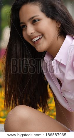 A Happy Female Teen With Long Hair