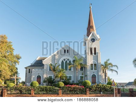 RIEBEECK WEST SOUTH AFRICA - APRIL 2 2017: The historic Dutch Reformed Church in Riebeeck Kasteel a town in the Swartland area of the Western Cape Province