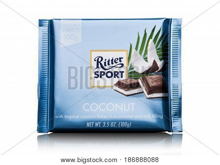 London, Uk - May 15, 2017:  Ritter Sport Milk Chocolate Bar With Coconut  On White. Ritter Sport Cho