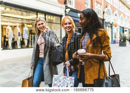 Girls Shopping And Walking In The City