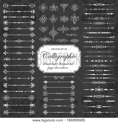 Vector set of calligraphic dividers and decorative elements on a chalkboard background - for design