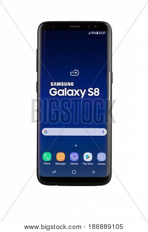 Varna, Bulgaria - May, 11, 2017: Studio Shot Of A Black Samsung Galaxy S8 Smartphone, With 12 Mp, F
