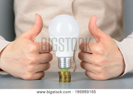 Female Hand Show Like And Led Light