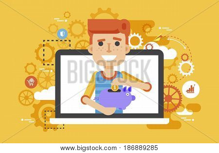 Stock vector illustration man piggy bank in hands design element for financial education, banking, deposit, saving, discount, online promotion, marketing, management flat style yellow background icons