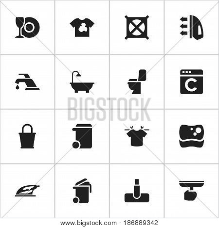 Set Of 16 Editable Cleanup Icons. Includes Symbols Such As Brush, Steam, Pail And More. Can Be Used For Web, Mobile, UI And Infographic Design.