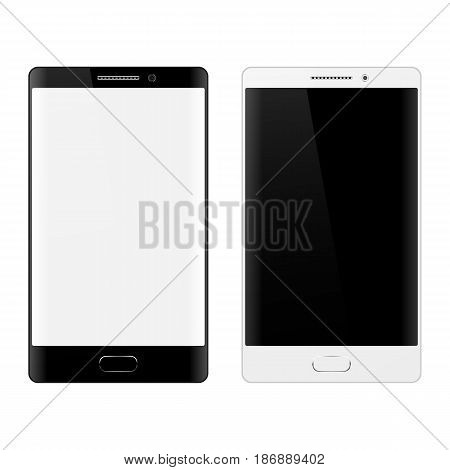 Smartphone on white background, mobile phone isolated with touchscreen. Cell phone mockup design.
