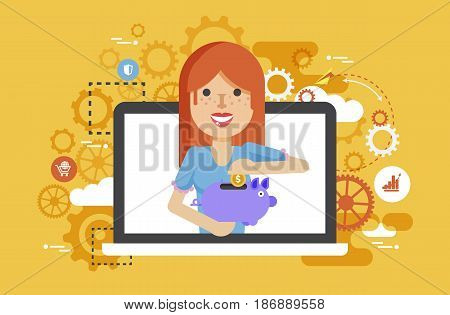 Stock vector illustration woman piggy bank in hands design element for financial education, banking, deposit, saving, discount, online promotion, marketing, management flat style yellow background icons