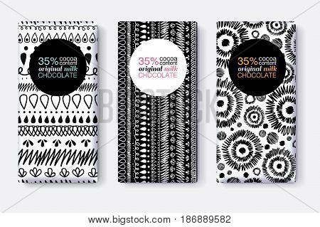 Vector Set Of Black and White Chocolate Bar Package Designs With Modern Tribal Ikat Patterns. Circle frame. Editable Packaging Template Collection. Packaging and Surface pattern design.