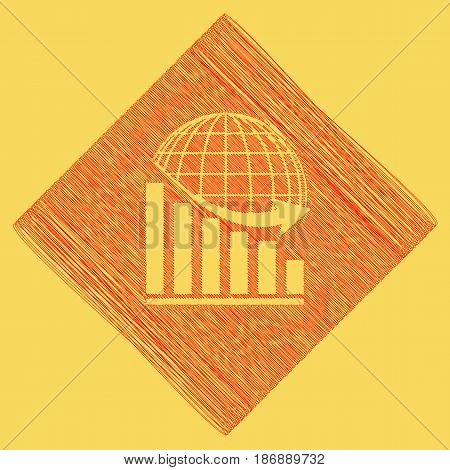 Declining graph with earth. Vector. Red scribble icon obtained as a result of subtraction rhomb and path. Royal yellow background.