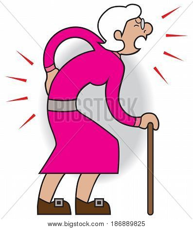 Older cartoon woman is suffering from aches and pains