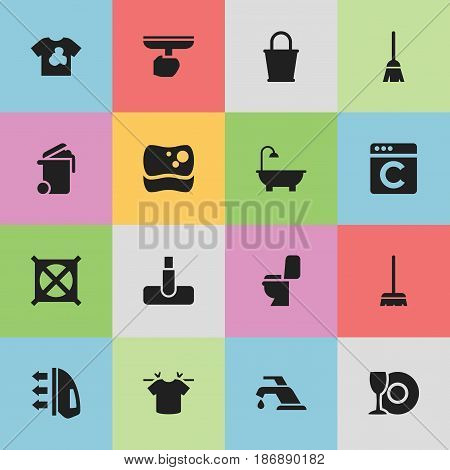 Set Of 16 Editable Hygiene Icons. Includes Symbols Such As Bathroom, Hoover, Brush And More. Can Be Used For Web, Mobile, UI And Infographic Design.