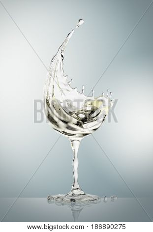 White wine glass on gray background. 3d rendering