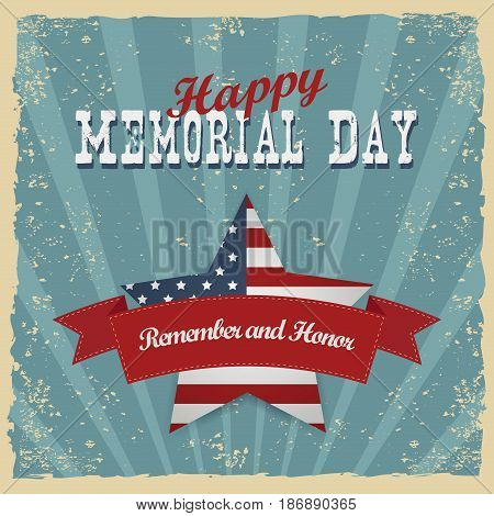 Memorial Day, remember and honor. Greeting card. Hand-lettering party invitation. Vintage typography illustration with star and stripes. Retro patterns for Posters, Flayers and Banner Designs