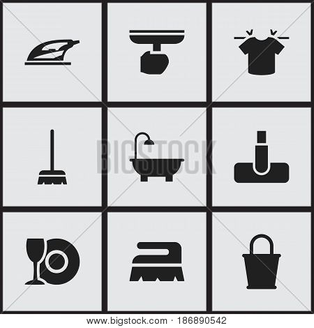 Set Of 9 Editable Cleaning Icons. Includes Symbols Such As Whisk, Clean T-Shirt, Hoover And More. Can Be Used For Web, Mobile, UI And Infographic Design.
