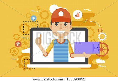 Stock vector illustration peddler parcels carrier man packaging box in hand thumbs up design element for delivery service business, online order, booking, management flat style yellow background icon