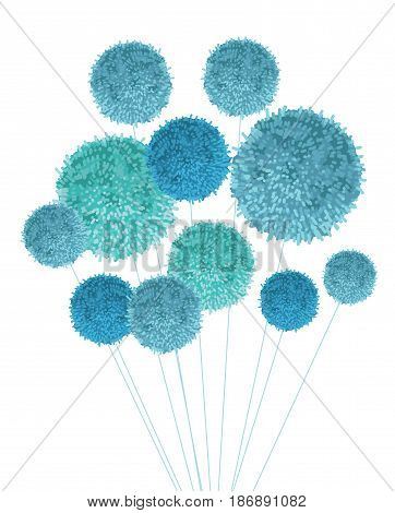 Vector Baby Boy Blue Pom Poms Bouquet Decorative Element. Great for nursery room, handmade cards, invitations, baby designs. Cute Birthday party decor.