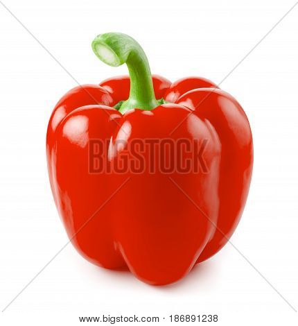 red bulgarian pepper isolated on white background with clipping path