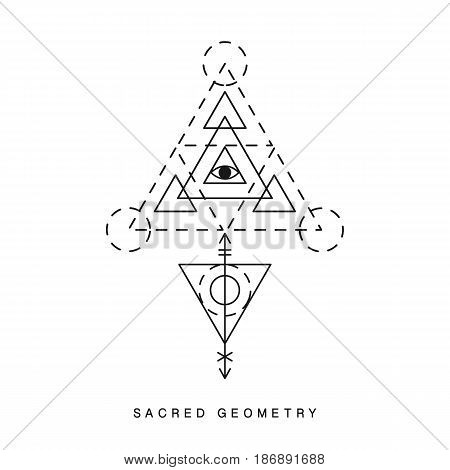 Sacred geometry sign, tattoo. Alchemy linear modern art. Philosophy religion, astrology tribal aztec emblem. Esoteric, science, hipster symbol. Vector logo, tee shirt apparel print.