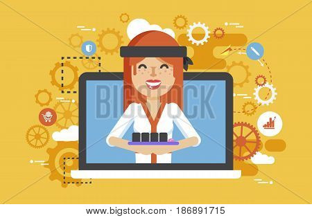 Stock vector illustration manufacture Japanese food, sushi master, woman design element for delivery service business, online sale, order, booking, promotion management flat style yellow background icon