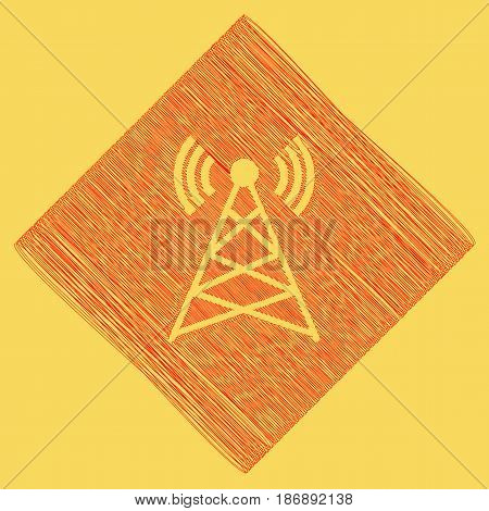 Antenna sign illustration. Vector. Red scribble icon obtained as a result of subtraction rhomb and path. Royal yellow background.