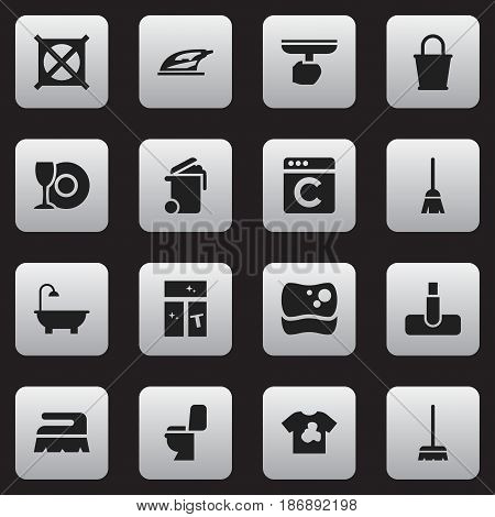 Set Of 16 Editable Cleanup Icons. Includes Symbols Such As Broomstick, Unclean Blouse, Whisk And More. Can Be Used For Web, Mobile, UI And Infographic Design.
