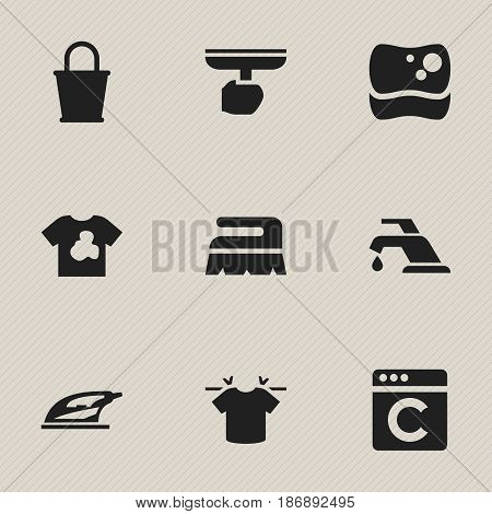 Set Of 9 Editable Hygiene Icons. Includes Symbols Such As Sweep, Pail, Brush And More. Can Be Used For Web, Mobile, UI And Infographic Design.