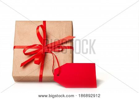 Package gift present wrapped present label gift tag isolated on white